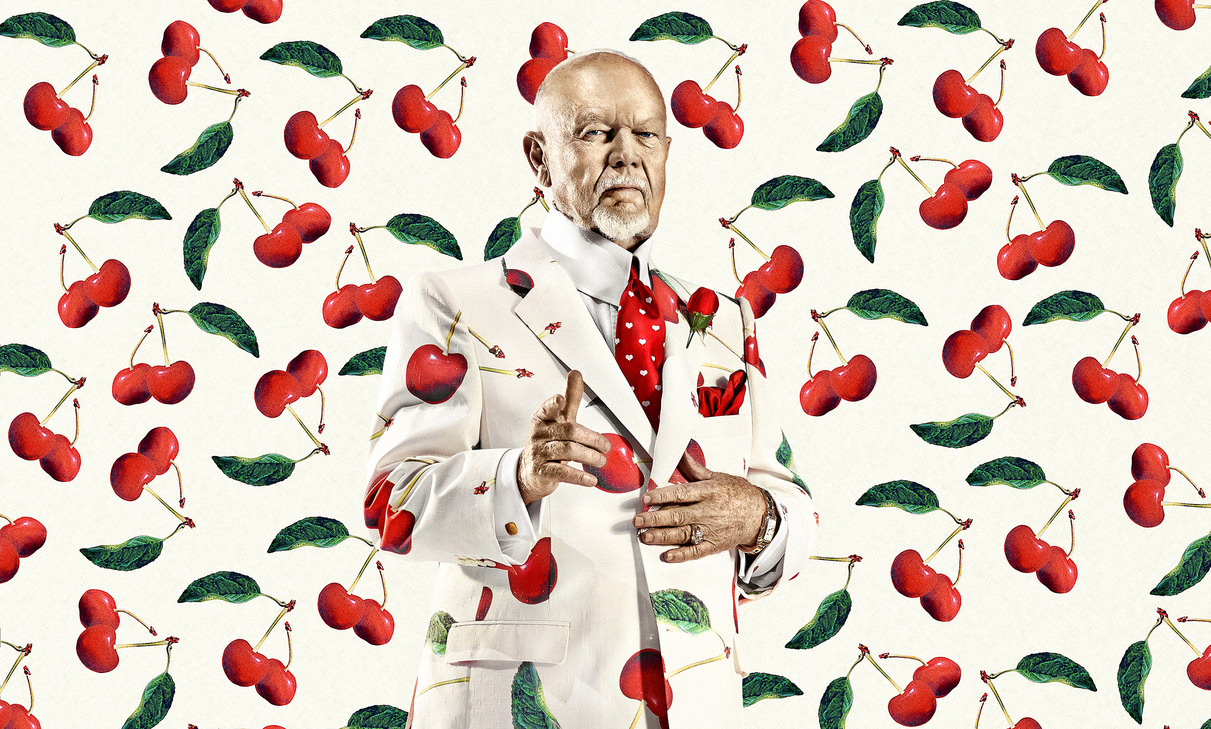 Don Cherry in a white suit with cherries